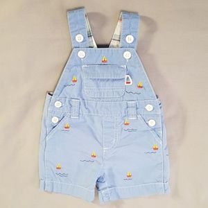 Gymboree sailboat nautical overall shorts